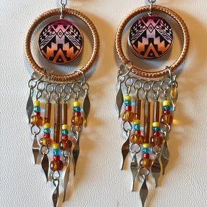 Tan Southwest Earrings With Dangles